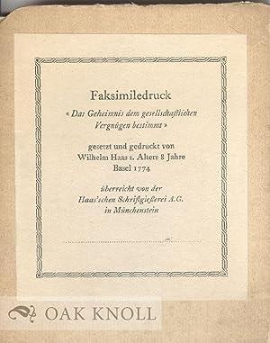 """FAKSIMILEDRUCK """"DAS GEHEIMNIS DEM GESELLSCHAFTLICHEN VERGNUGEN BESTIMMT"""", GESETZT UND ..."""
