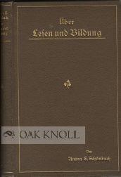 UBER LESEN UND BILDUNG: Schonbach, Anton C.