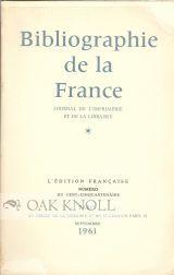 BIBLIOGRAPHIE DE LA FRANCE: JOURNAL DE L'IMPRIMERIE ET DE LA LIBRARIE