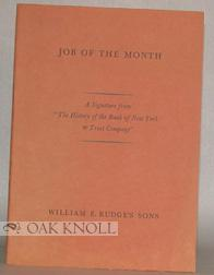 """JOB OF THE MONTH, A SIGNATURE FROM """"THE HISTORY OF THE BANK OF NEW YORK & TRUST COMPANY.&..."""