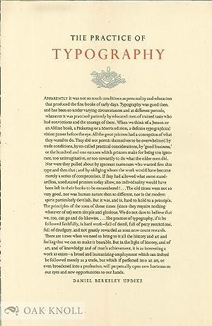 PRACTICE OF TYPOGRAPHY: Updike, Daniel Berkeley