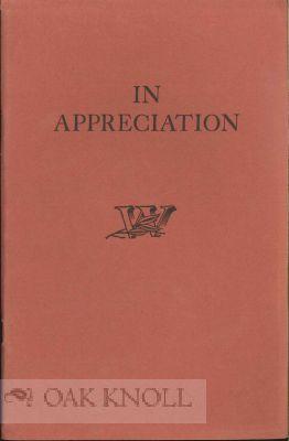IN APPRECIATION A KEEPSAKE FOR CRAFTSMEN