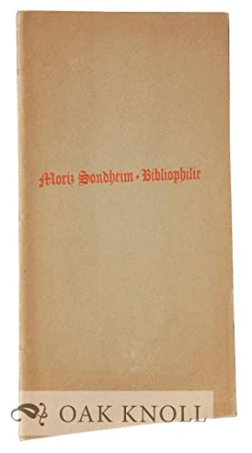 BIBLIOPHILIE: Sondheim, Moriz