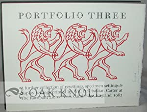PORTFOLIO THREE, A FURTHER DISPLAY OF RESETTINGS, SPECIMEN SETTINGS & DISPLAY SETTINGS PRINTED ...