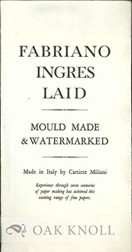 FABRIANO INGRES LAID: MOULD MADE & WATERMARKED: Cartiere Miliani