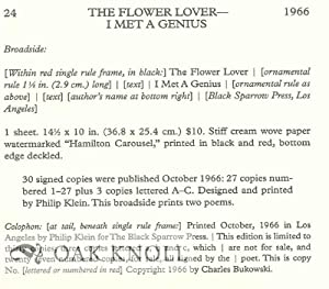 DESCRIPTIVE BIBLIOGRAPHY OF THE PRIMARY PUBLICATIONS OF CHARLES BUKOWSKI.|A: Krumhansl, Aaron