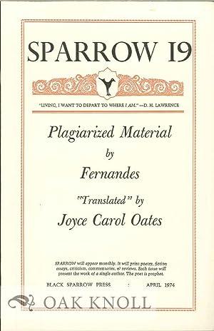 PLAGIARIZED MATERIAL BY FERNANDES. SPARROW 19: Oates, Joyce Carol
