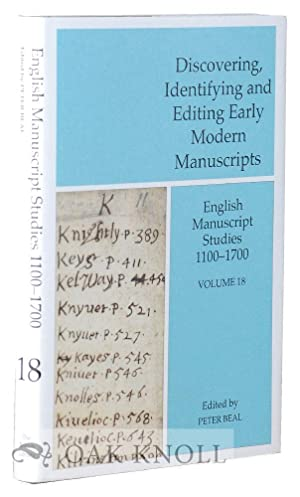 DISCOVERING, IDENTIFYING, AND EDITING EARLY MODERN MANUSCRIPTS: Beal, Peter (editor)