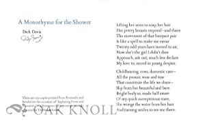 MONORHYME FOR THE SHOWER.|A