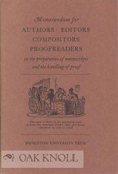 MEMORANDUM FOR AUTHORS EDITORS COMPOSITORS PROOFREADERS ON