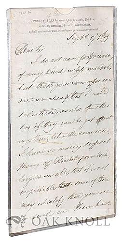 Letter from Henry George Bohn: Bohn, Henry George