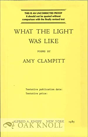 WHAT THE LIGHT WAS LIKE: Clampitt, Amy