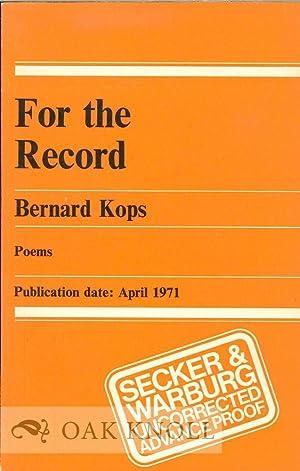 FOR THE RECORD: Kops, Bernard