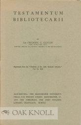 TESTAMENTUM BIBLIOTECARII: Kenyon, Frederic G.