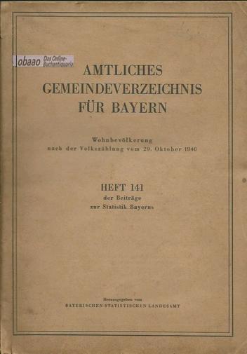 Amtliches Gemeindeverzeichnis für Bayern: Bayerisches Statistisches Landesamt