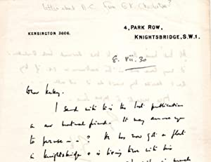 Letter Referring to Aleister Crowley as 'our mutual friend': Chesterton, G.K. & Crowley, ...