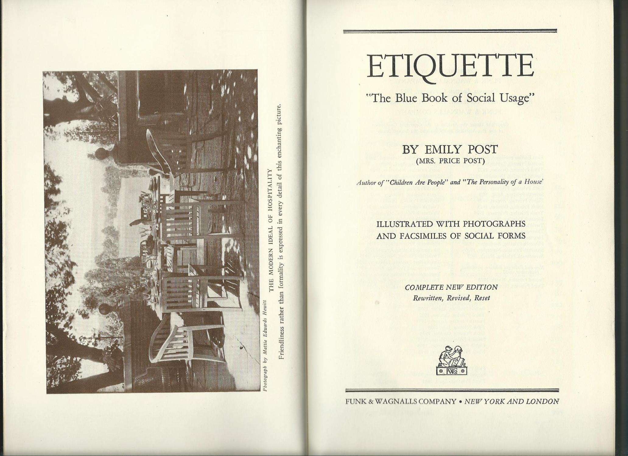 Emily Post Etiquette Book: ETIQUETTE The Blue Book Of Social Usage By Emily Post