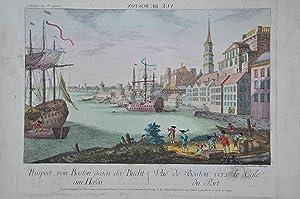 Boston]. Vue de Boston. Vuë de Boston vers le Cale du Port.: COLLECTION DES PROSPECTS
