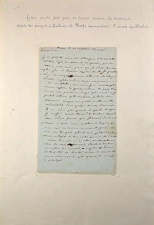 Lettre autographe signée: Hoche (Lazare)