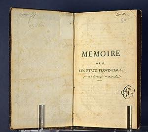 Mémoire sur les États Provinciaux: MIRABEAU, M. Le Marquis de)