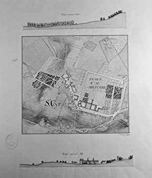 Plan manuscrit avec rehauts d'aquarelle donnant le plan de l'École militaire de ...
