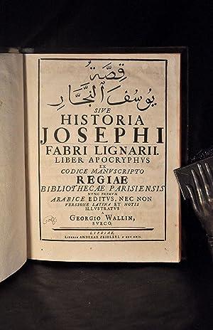 Historia Josephi Fabri Lignarii: Liber Apocryphus Ex: WALLIN (Georgio)