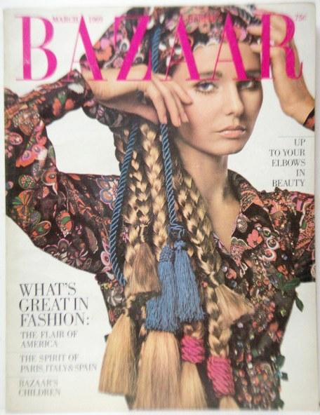Harper's Bazaar (magazine, USA) March, 1969 Very Good Softcover cover: Shirtdress by Oscar de La Renta, cover photo by James Moore. [What's great in fashion: the flair of America / Thespirit of Paris, Italy & Spain