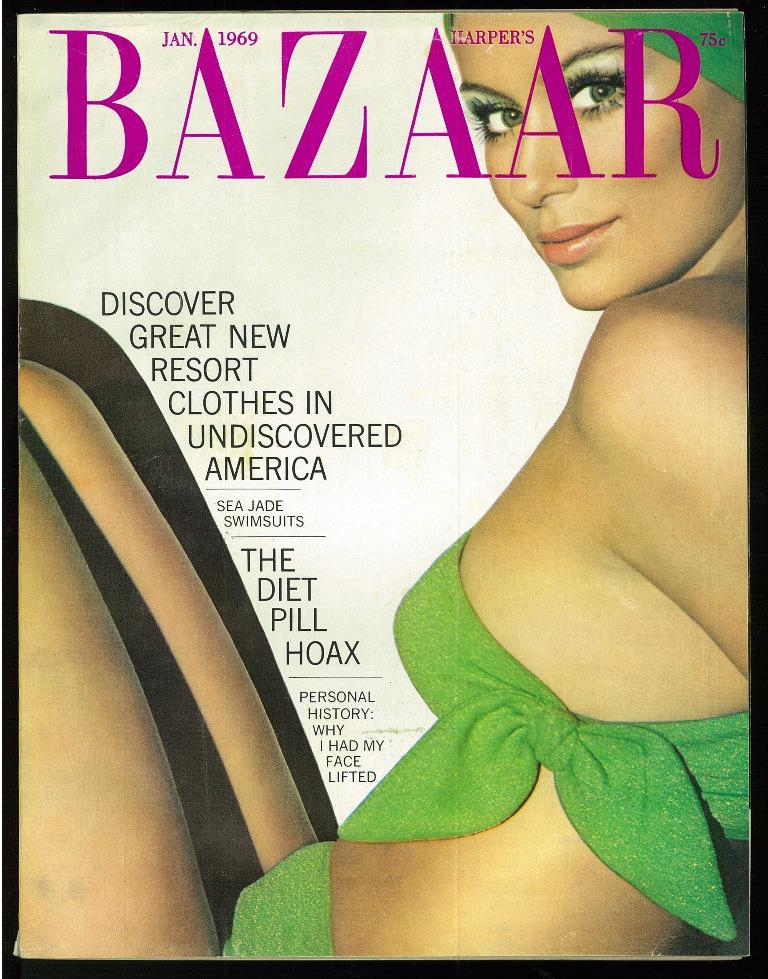 Harper's Bazaar (magazine, USA) January, 1969. Cover cloth: Oscar de La Renta, photo by Hiro. Good Softcover [Discover great new resort clothes in undiscovered America / Sea jade swimsuits / The diet pill hoax / Personal history: why I had my face lifted] Con