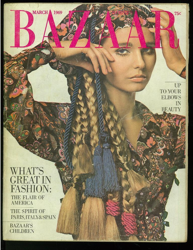 Harper's Bazaar (magazine, USA) March, 1969. Cover cloth: Oscar de La Renta, photo by James Moore. Good Softcover [What's great in fashion: the flair of America / Thespirit of Paris, Italy & Spain / Bazaar's children / Up to your elbows in beauty] Containing the p