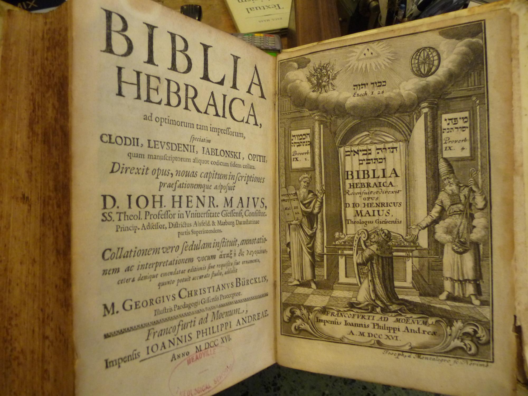 Biblia Hebraica, Ad Optimorum Tam impressorum, Speciatim Clodii, Levsdenii, Iablonski, Opitii, Quam...