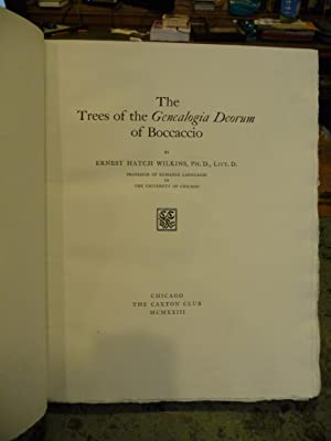 The Trees of the Genealogia Deorum of Boccaccio: Wilkins, Ernest Hatch