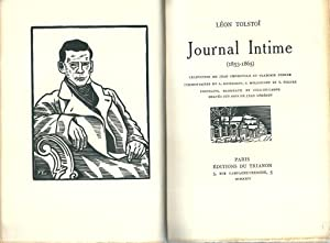 Journal intime (1853-1865). Inédit *: TOLSTO� L�on :