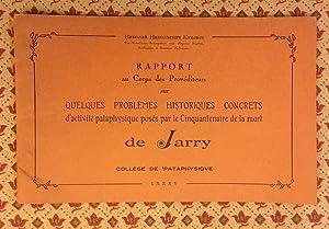 Rapport au Corps des Provéditeurs sur quelques problèmes historiques concrets d'...