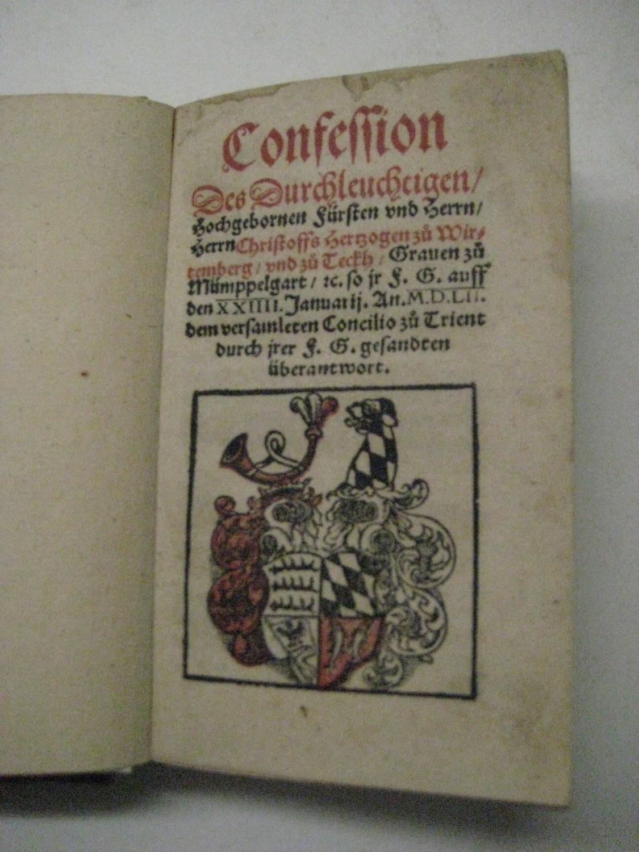 Confession des durchleuchtigen hochgebornen Fürsten und Herrn Herrn Christoffs Hertzogen zu ...