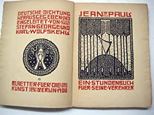 Deutsche Dichtung: Jean Paul. Ein Stundenbuch fuer seine Verehrer.: George, Stefan u. Karl ...