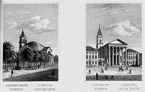 Souvenir de Carlsrouhe. 17 vues et un plan de la ville avec une carte du chemin de fer.: Karlsruhe.