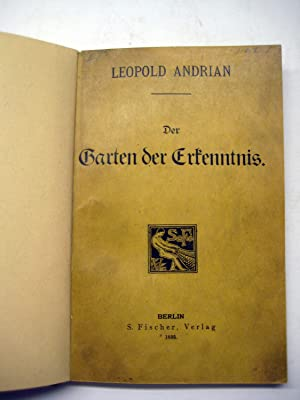 Der Garten der Erkenntnis.: Andrian, Leopold.