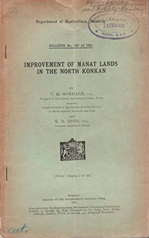 Improvement of Manat Lands in the North: GOKHALE, V.G. &