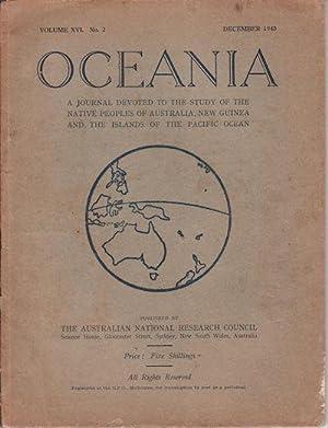 Oceania. Vol XVI. Number 2. December 1945: