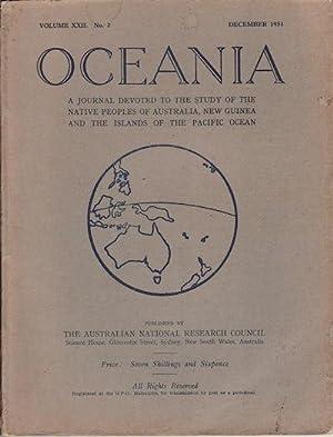 Oceania. Vol XXII. Number 2. December 1951: