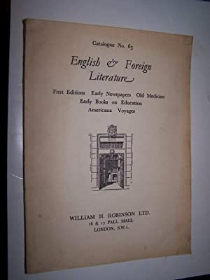 ENGLISH & FOREIGN LITERATURE Catalogue 63 1937