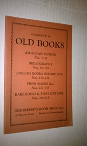 OLD BOOKS - Catalogue 457: Goodspeed's
