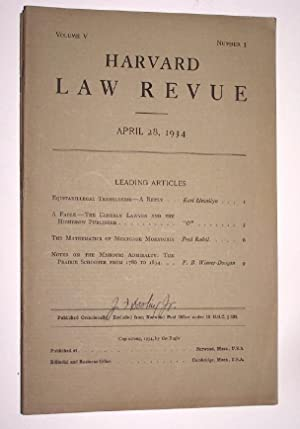Harvard Law Revue ( April 28, 1934 ) [A Satirical Lampoon of the Harvard Law Review] Equitabilleg...