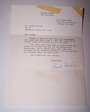 TYPED LETTER SIGNED by Frank Waters to Ralph H. Houston