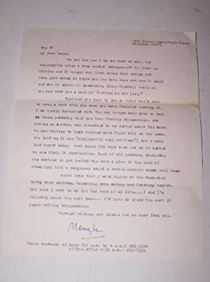 TYPED LETTER SIGNED by Meryl Secrest written to Roger Stevens