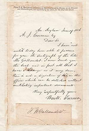 Ink Signature Affixed to a Letter from the American Asylum: Gallaudet, Thomas Hopkins