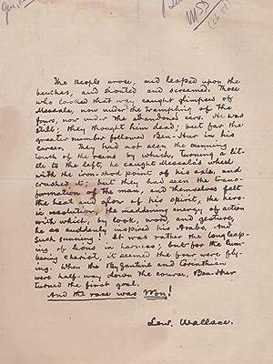"Single Page Manuscript Transcription of a Section of ""Ben Hur"": WALLACE, Lew"