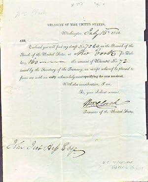 Document Signed , Dated 1828, by William Clark, Treasurer of the United States: Clark, William