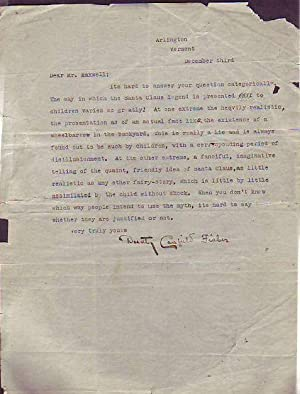 Typed Letter Signed Regarding Children and the Santa Claus Legend: Fisher, Dorothy Canfield