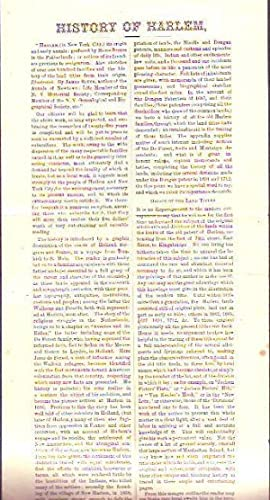 "History of Harlem"" Book Publication Advertisment and Rview 1881: New York City)"